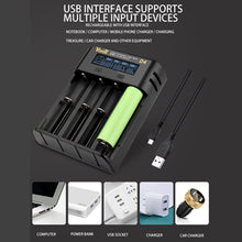 Load image into Gallery viewer, Smart Battery Charger 4 Slot For 18650 21700 26650 Lithium AA AAA Nimh Battery