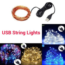 Load image into Gallery viewer, 50/100/200LEDs USB/Solar String Lights 8 Modes Solar Powered Copper Wire Fairy Lights IP65 Waterproof Indoor Outdoor Lighting for Home, Garden, Party, Path, Bedroom, Wedding, Christmas, DIY Decoration