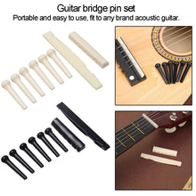 Load image into Gallery viewer, 1 Set of 6 string guitar bone bridge pins guitar 6 string saddle nut guitar accessories for acoustic guitar
