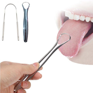 2Pcs /1Pc Stainless Steel Tongue Cleaner Scraper Dental Care Oral Hygiene Remover Bad Breath