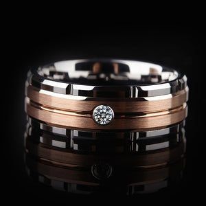 New Fashion 8mm Tungsten Carbide Ring Men Rose Gold Brushed Diamond Wedding Band