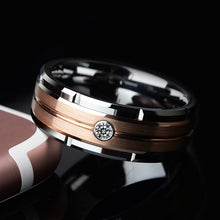 Load image into Gallery viewer, New Fashion 8mm Tungsten Carbide Ring Men Rose Gold Brushed Diamond Wedding Band