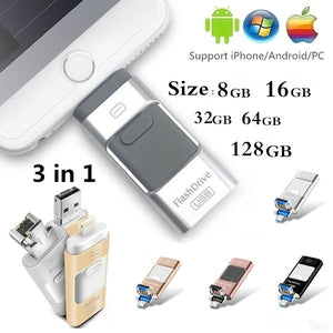 100% original capacity 3 in 1 i-FlashDrive for iPhone/iPad/Android/PC 8GB/16GB/32GB/64GB/128GB OTG Pendrive