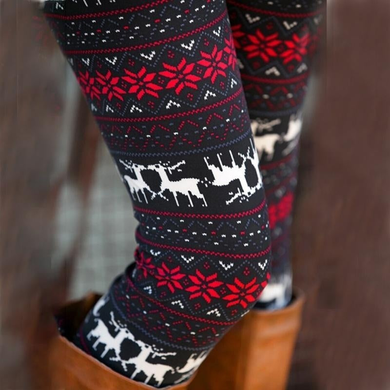 Fashion Womens Xmas Snowflake Reindeer Knitted Tights Pants Warm Leggings Skinny Slim Pencil Pants Trousers One Size