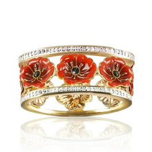 Load image into Gallery viewer, Ai Exquisite 18k Solid Gold Floral Ring 'Lest We Forget' Enamel Poppy Flower Blossom Diamond Jewelry Black Gemstone Wedding Band Anniversary Christmas Gift Bridal Proposal Engagement Rings Size 5-10