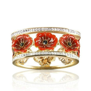 Ai Exquisite 18k Solid Gold Floral Ring 'Lest We Forget' Enamel Poppy Flower Blossom Diamond Jewelry Black Gemstone Wedding Band Anniversary Christmas Gift Bridal Proposal Engagement Rings Size 5-10