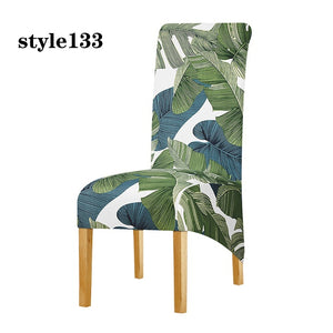 XL Size High Back Chair Cover Elastic Printing Chair Protector Removable Wedding Party Dining Room Restaurants Slipcover Home Decor