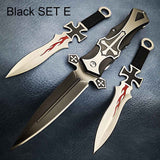 Tactical Survival Knife Kits , 3 in 1 with Sheath , Black Cross Assisted Open Knife with Two Swords Throwing Stiletto SET , Fast Ship Drop Ship