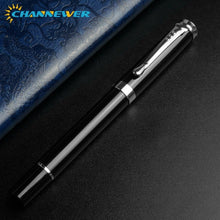 Load image into Gallery viewer, 0.38mm Extra Fine Nib Fountain Pen, Black Metal Calligraphy Writing Gift Pen with Ink Refill Converter Drawing Journal Executive Channewer Business Pens for Men Women, School, Office