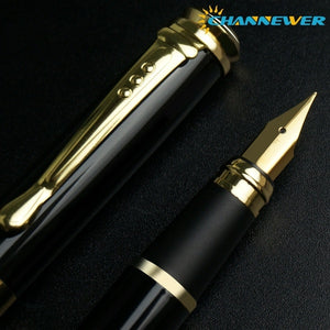 0.38mm Extra Fine Nib Fountain Pen, Black Metal Calligraphy Writing Gift Pen with Ink Refill Converter Drawing Journal Executive Channewer Business Pens for Men Women, School, Office