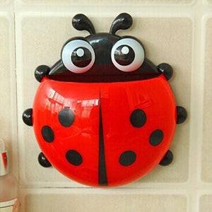 1Pc Cute Ladybug Design Popular Suction Toothbrush Toothpaste Holder Bathroom Decor