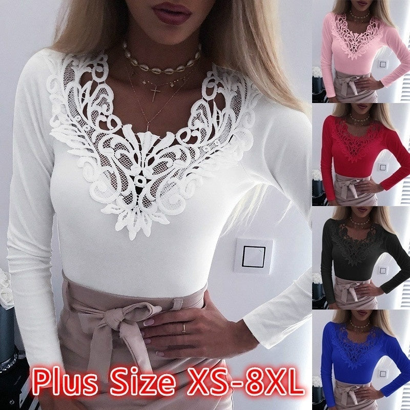 Women's Loose Casual Long Sleeve Lace Splice Solid Color Autumn T Shirts Blouse Tops Plus Size XS-8XL