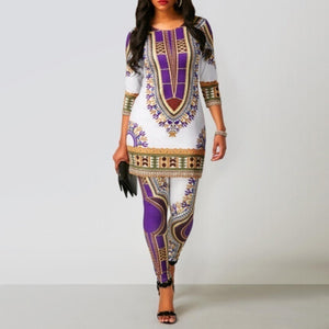 Women Two Piece Suit African Style Long Sleeve Print Top and Slim Fit Skinny Pants High Waist Yoga Pants Plus Size Ankle Length Pants