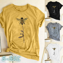 Load image into Gallery viewer, Plus Size XS-5XL New Design Women's Summer Fashion T-shirts Short Sleeve Funny Bee Pattern Printed Round Neck Graphic Shirt Casual Loose Fitted Cotton Blouse Cool T-shirts Cute Tee Pullover Tops