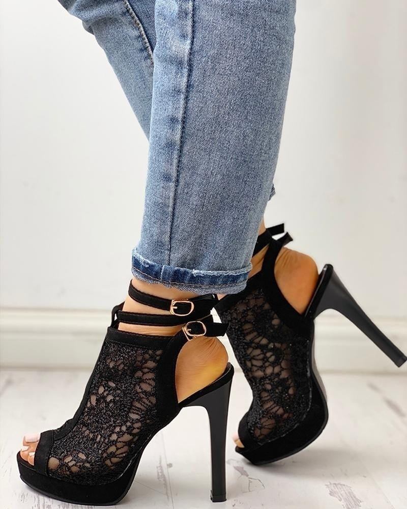 Women Fashion High Heel Sandals Black Stiletto Heel Sandals Lace Up Sandals Ankle Strap Shoes Peep Toe Sandals