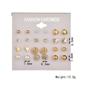 12 Pairs/ Set  Silver and Gold Simple Classic Crystal Pearl Spark Stud Earrings Set Cubic Zircon Stainless Steel Heart Shape Ear Studs for Women and Men