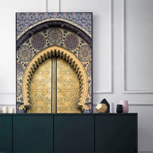 Load image into Gallery viewer, Morocco Door Wall Art Gold Quran Arabic Calligraphy Canvas Panting Islamic Architecture Poster Print Wall Pictures Boho Decor