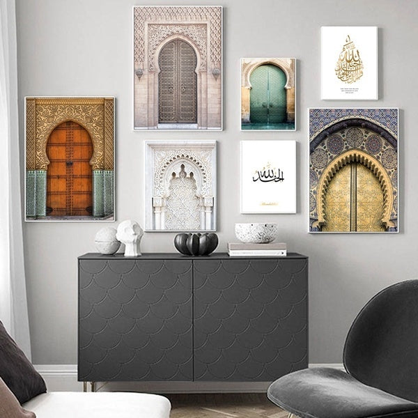 Morocco Door Wall Art Gold Quran Arabic Calligraphy Canvas Panting Islamic Architecture Poster Print Wall Pictures Boho Decor