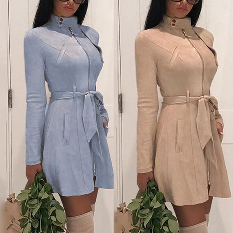 New Fashion Women Solid Color Zipper Long Sleeve Trench Coat Suede Casual Windbreaker Coat Bodycon Mini Dress Trench Coat
