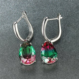 Stylish Bi-colored Watermelon Red Green Tourmaline Natural Gemstone Water Drop Dangle Earrings 925 Sterling Silver Bride Wedding Jewelry Gifts