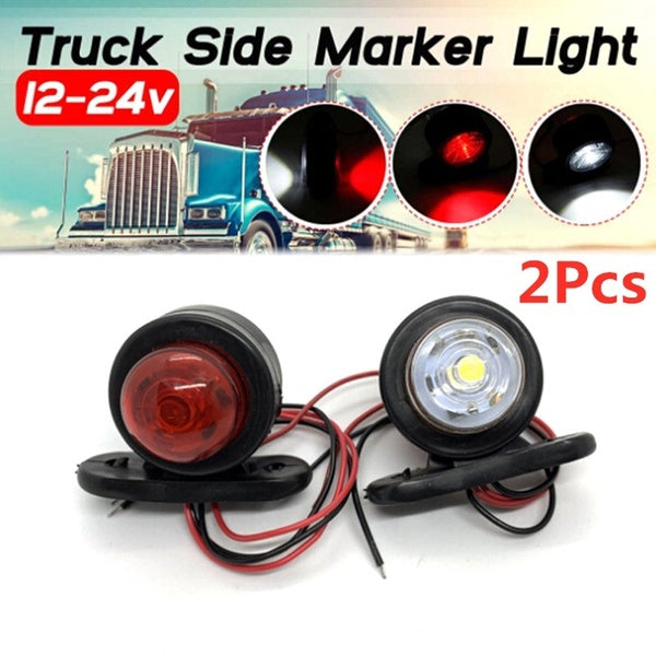 2Pcs Car Truck LED Side Marker Light Double Lamp White Red For Trailer Lorry Caravan