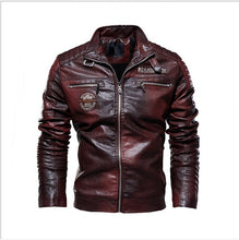 Load image into Gallery viewer, 2019 Men Casual Motorcycle Pilot Leather Jackets Coat Men Autumn Fashion Stand Collar Faux Leather Jacket Coats Men