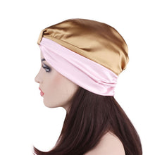 Load image into Gallery viewer, Women Elastic Night Hair Hat Knot Pleated Sleep Cap Hairband Turban Hat Satin Bonnet Head Cover