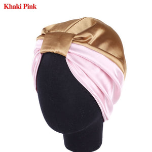 Women Elastic Night Hair Hat Knot Pleated Sleep Cap Hairband Turban Hat Satin Bonnet Head Cover