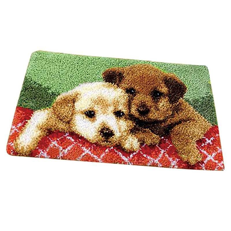 1PC New DIY Latch Hook Rug Kit Two Dogs Carpet Mat Cross Stitch Tool 30 x 50cm
