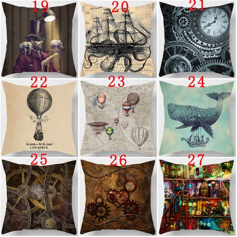 45X45cm 18x18inch Steampunk Polyester Decorative Throw Pillow Case Single-sided Printing Cushion Cover Sofa Home Decor