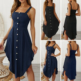 S-5XL Women Sleeveless Irregular Hem Suspender Beach Dress Evening Party Sexy Long Dresses Sundress Kleid Damen