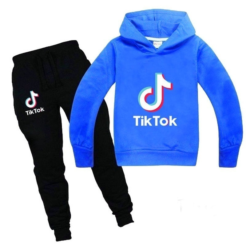 Fashion Tik Tok Printed Kids Clothes Sets Boys Girls Hoodie Suits Two Piece Set Pullover Tracksuit
