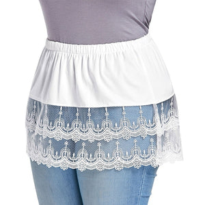 New Style Spring Women Fashion Layered Skirts Extender Tiered Sheer Lace Trim Extender Half Slips Patchwork Skirt (Just Half Skirt)