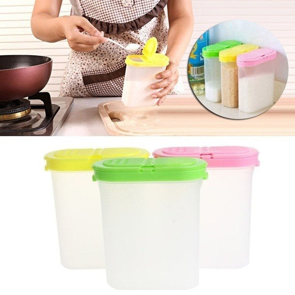 Hot Kitchen Double Lid Spice Boxes Sugar Salt Case Seasoning Condiment Rack Plastic Container Box 250ml