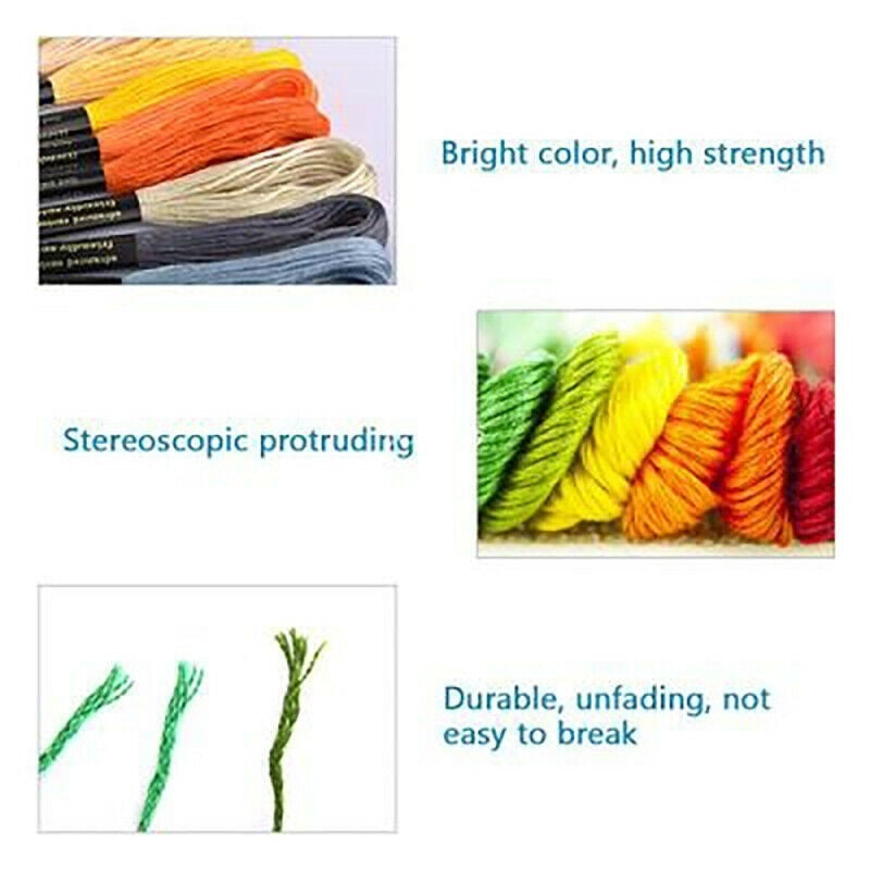 New Multicolors Embroidery Thread Hand Cross Stitch Floss Sewing Skeins Craft Knitting with Punch Needles Sewing Set Tool