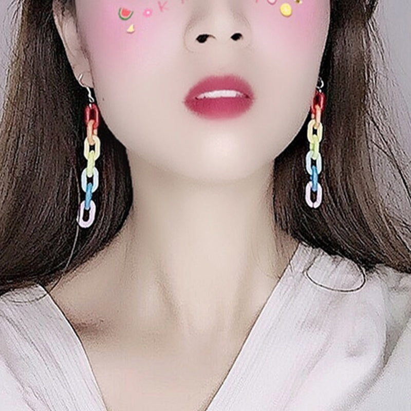 Personality Candy Color Acrylic Long Chain Statement Earrings Colorful Rainbow Geometric Cool Earrings for Woman Party Jewelry