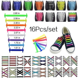 16Pcs/set Silicone Shoelaces Elastic Shoe Laces Special No Tie Shoelace for Men Women Lacing Rubber Shoelace