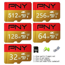 Load image into Gallery viewer, 2020 new PNY golden red high speed 256GB 128GB 64GB USB drive Micro SD Micro SDHC Micro SD SDHC card 10 UHS-1 TF memory card + card reader.