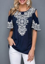Load image into Gallery viewer, Plus Size Short Sleeve Round Neck Printed Blouses Women's Fashion Causal Tunic Summer Loose Tops XS-5XL