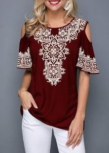 Plus Size Short Sleeve Round Neck Printed Blouses Women's Fashion Causal Tunic Summer Loose Tops XS-5XL