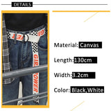 Girl Power Women Belt Fashion Harajuku Double D Ring Buckle 130cm Long Strap Female Letter Printing Canvas Belts for Jeans