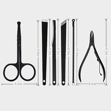 Load image into Gallery viewer, 7/15/16Pcs Black Stainless Steel Nail Clipper Cutter Trimmer Ear Pick Grooming Kit Manicure Pedicure Scissor Tweezer Nail Tools Set