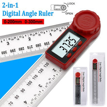 Load image into Gallery viewer, 200mm 300mm  Angle Measuring Ruler 360¡ã LCD Display Digital Angle Ruler Inclinometer Goniometer Protractor Carbon Fiber Angle Finder Angle Meter Angle Detector