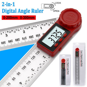 200mm 300mm  Angle Measuring Ruler 360¡ã LCD Display Digital Angle Ruler Inclinometer Goniometer Protractor Carbon Fiber Angle Finder Angle Meter Angle Detector