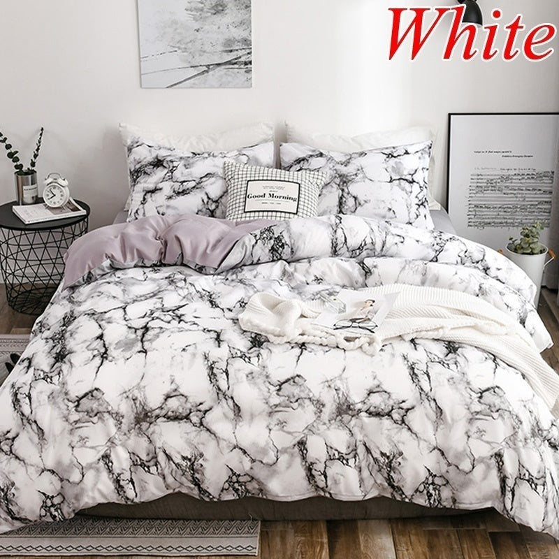 Stylish Marble Printed Duvet Cover & Pillow Shams Set Brushed Fabric Super Soft Comforter Covers Single Twin Double Full Queen King 10 Size White Black Purple Pink Blue Brown 6 Colors