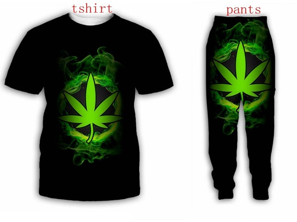 Green Weeds 3D All Over Print Women Men Casual T-Shirt Joggers Pants And Suit  H22