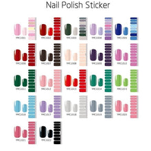 Load image into Gallery viewer, 1PC (included 16 Stickers )Fashion Pure Color Nail Polish Film Nail Art Foils Full Nail Patch Waterproof Nail Polish Strips Environmental Nail Foils