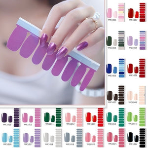 1PC (included 16 Stickers )Fashion Pure Color Nail Polish Film Nail Art Foils Full Nail Patch Waterproof Nail Polish Strips Environmental Nail Foils