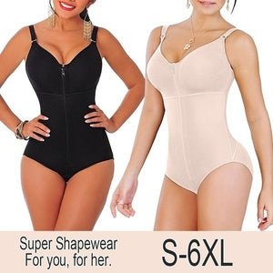 Womens New Fashion Slimming Tummy Plus Size Shaper Panty Style Clip & Zip Control Full Body Bodysuit Shapewear with Bra
