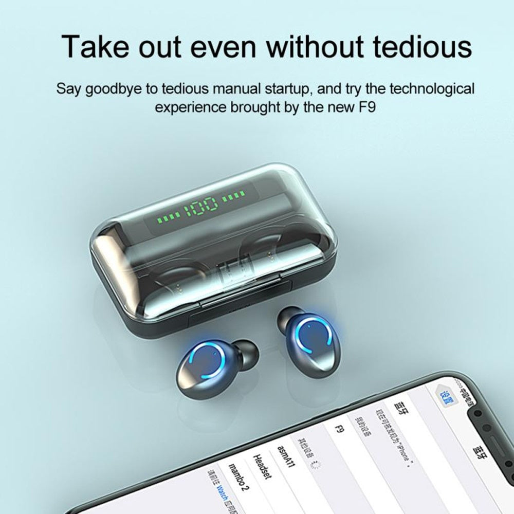 2020 9D HiFi Bluetooth 5.0 CVC8.0 Noise Reduction Stereo Wireless TWS Bluetooth Headset LED Display Headset Waterproof Dual Headphones with Power Bank Chagring case (Monaural Version 100/1500mAh or Led Binaural Version 4500mAh)